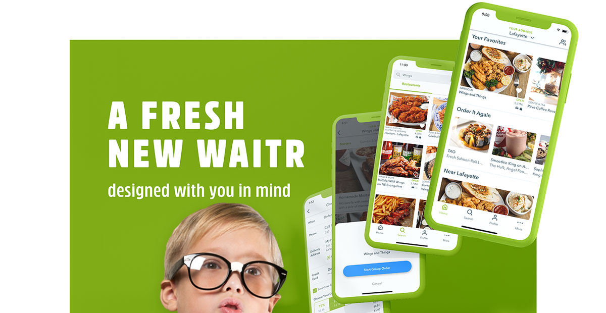 The confused little guy from above (at least his head) floating in front of a few screenshots of the all-new Waitr v3.0.