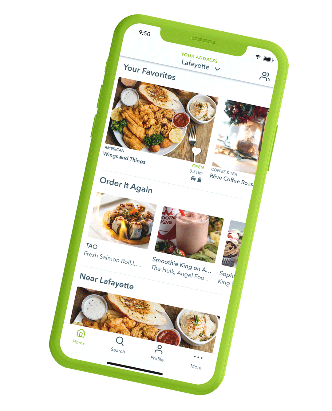 The new Waitr home screen. It's got your favorites, order it again, and restaurants near you right there in plain view. There's even a convenient bottom menu bar!