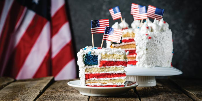 American birthday cake. (It's just a regular cake with American flags all around it.)